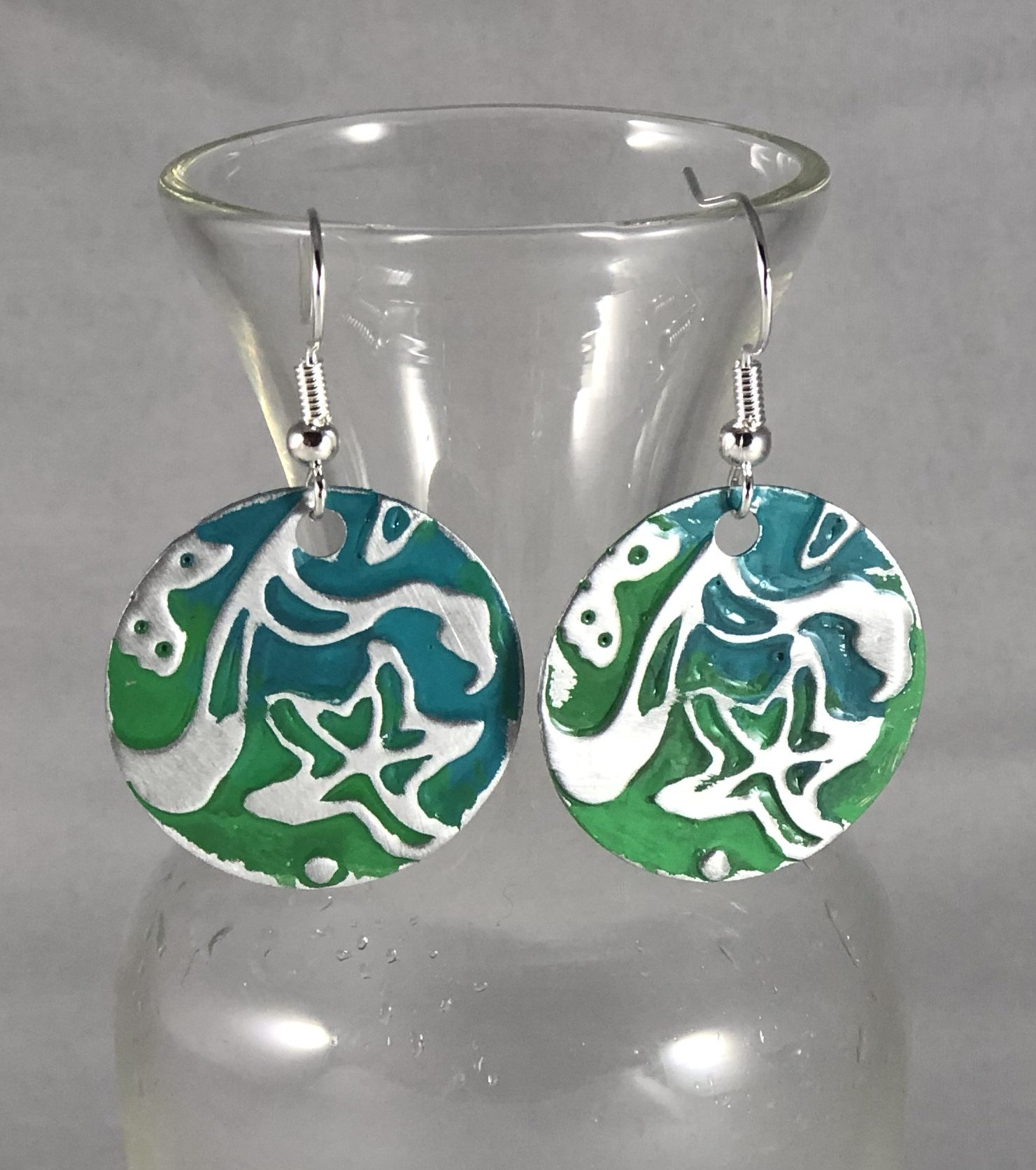 CC Star Grass Green Enamel Earrings Textured Copper with Vitreous Enamel and Silver Ear Wires
